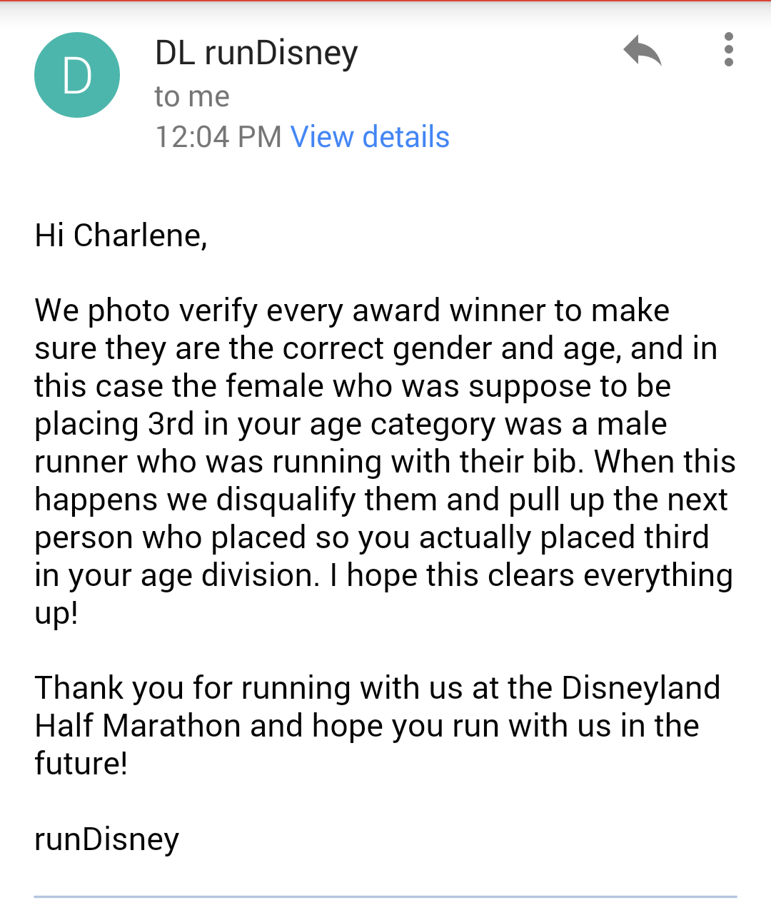 that time you open an email from rundisney what a surprise fab another email